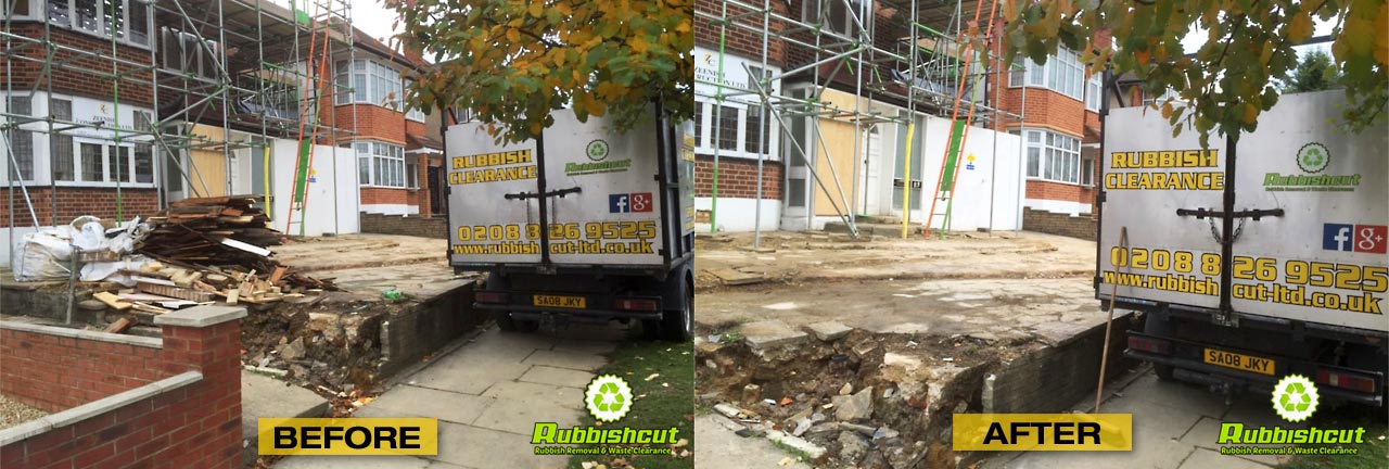 before and after construction site clearancel rubbishcut in london